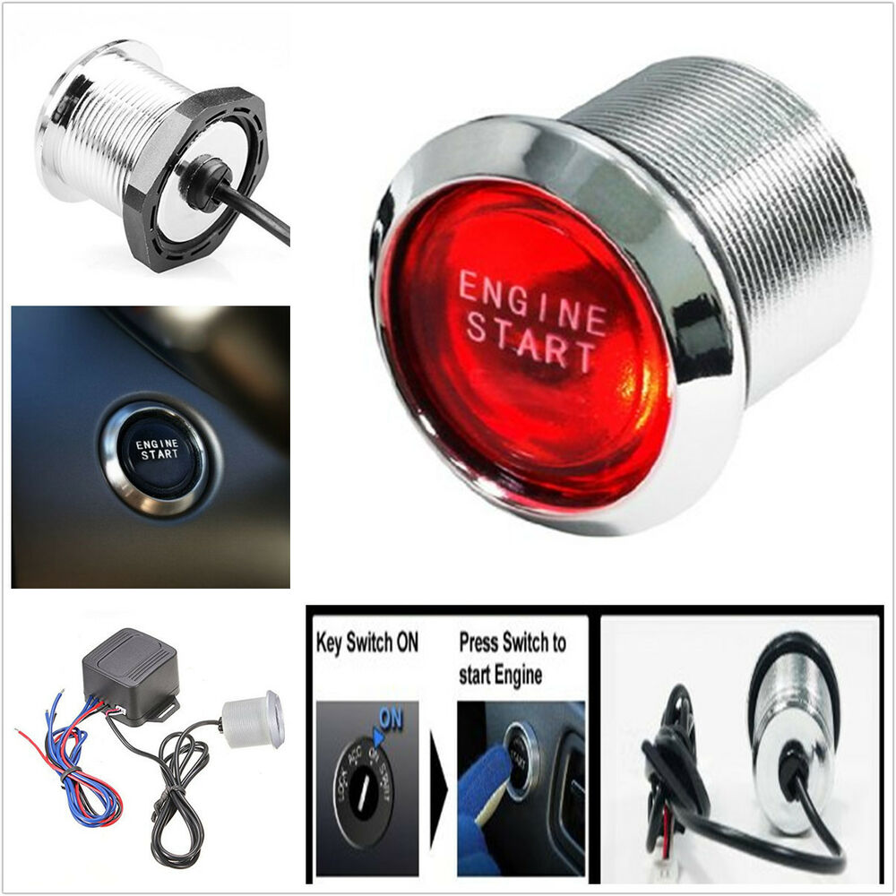 Car Suv Keyless Engine Ignition Power Switch Blue Led: Red Start/ Stop Buttons Keyless Engine Ignition LED Light