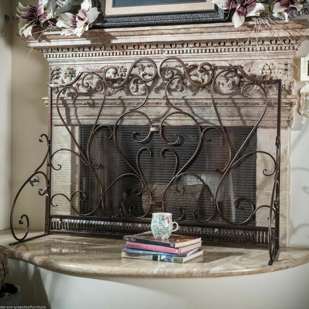 Indoor Adalia Black Brushed Gold Finish Wrought Iron Fireplace Screen Ebay