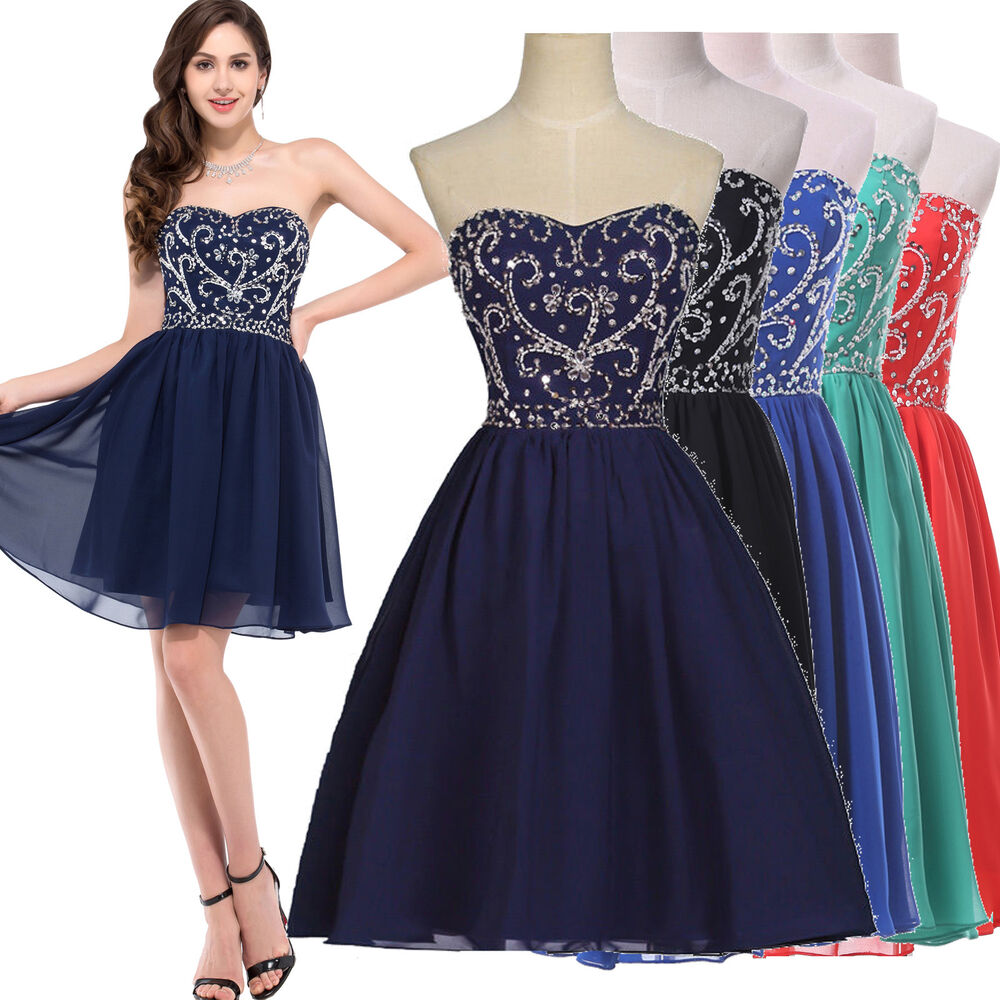 Teens Short Chiffon Homecoming Graduation Gown Bridesmaid ...