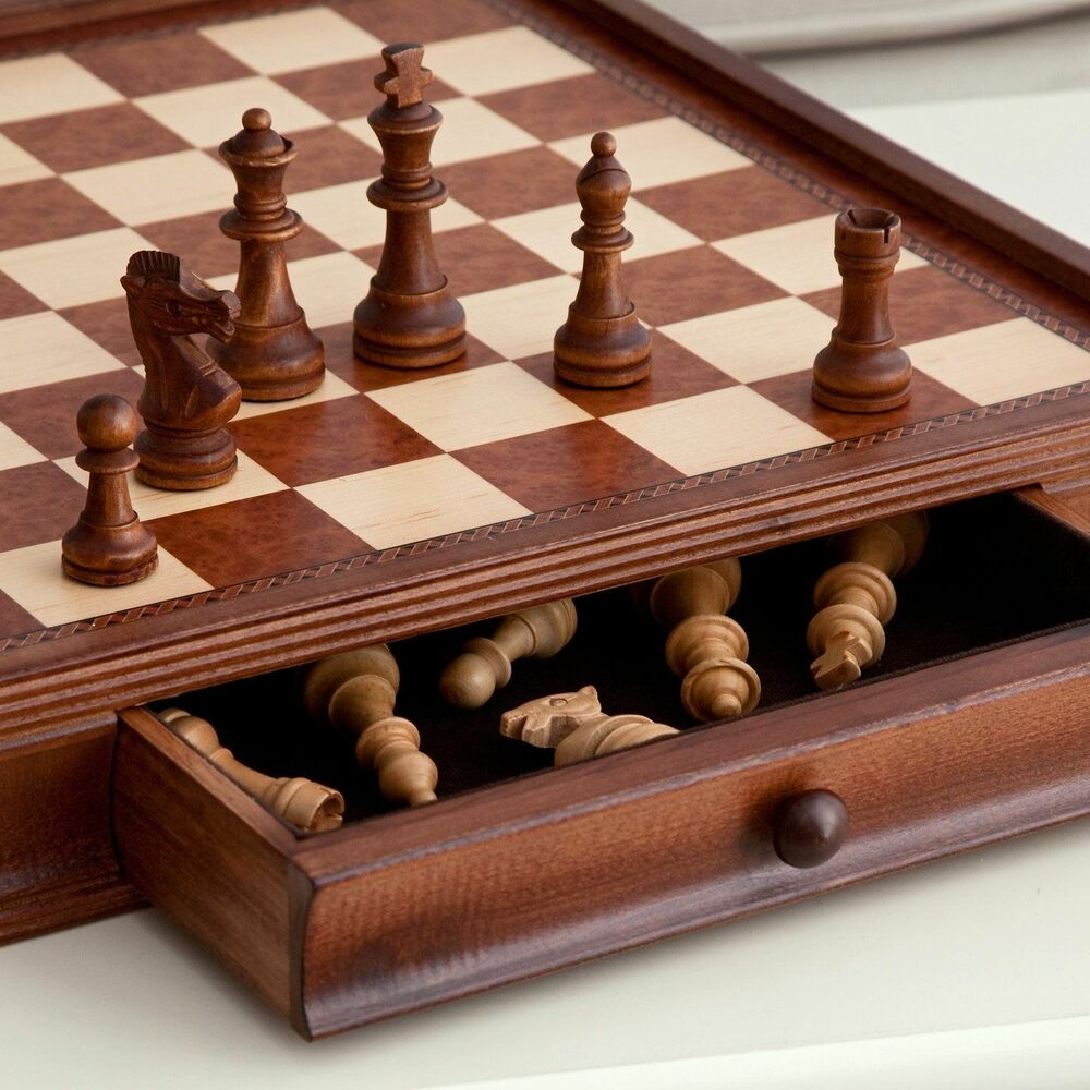 Wooden Chess Table ~ Vintage quot wooden chess and checkers set board wood table