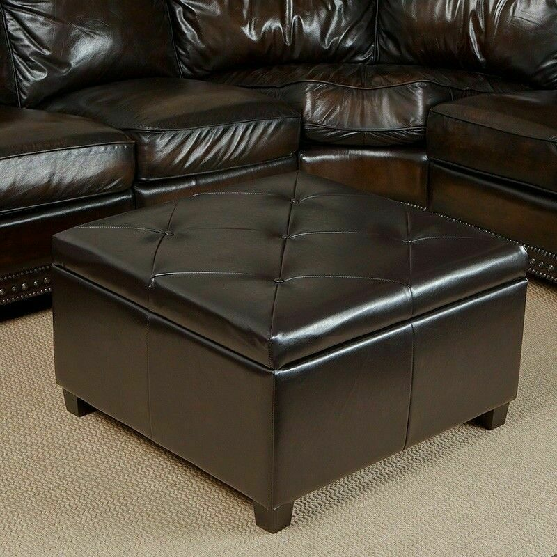 Elegant Espresso Leather Storage Ottoman Coffee Table W Tufted Top Ebay