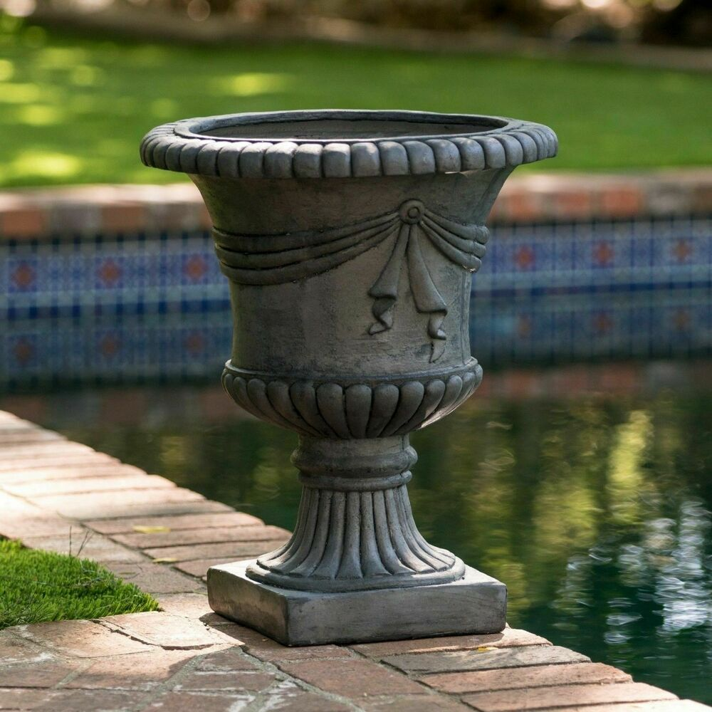 20 tall antique decor aged gray stone outdoor garden urn for Decorative outdoor pots