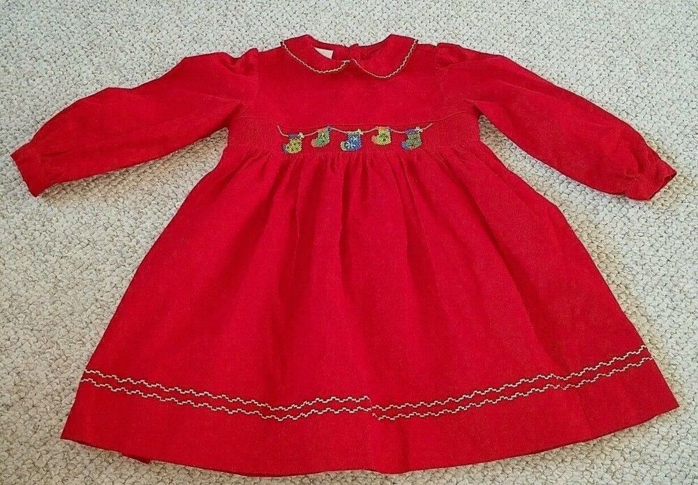 Red corduroy christmas dress embroidered stockings collection bebe
