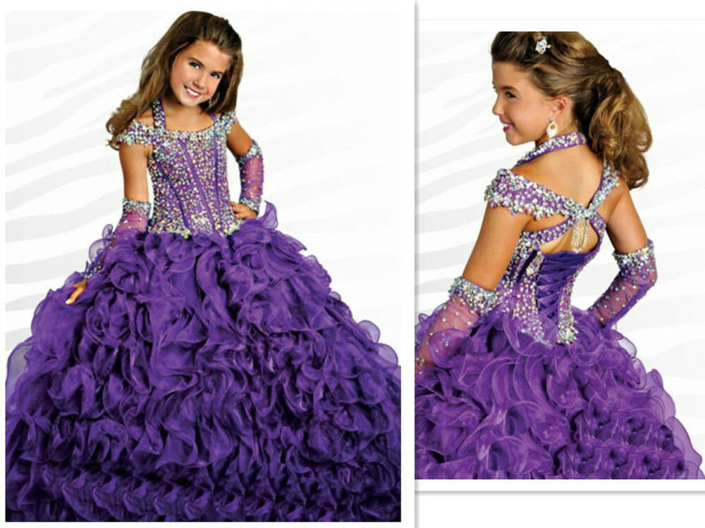Princess Ball Gown Wedding Dresses: Custom Girl Kids Pageant Party Princess Ball Gown Prom