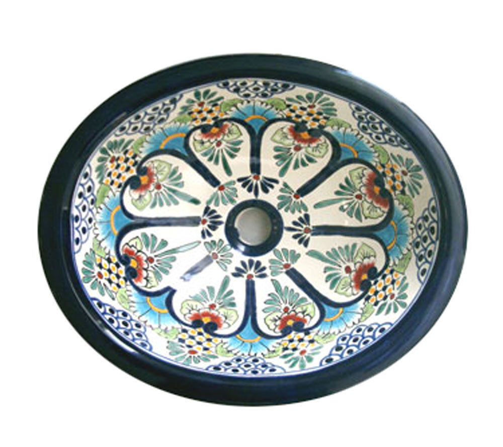 077 medium bathroom sink 17x14 mexican ceramic hand paint for Can ceramic be painted