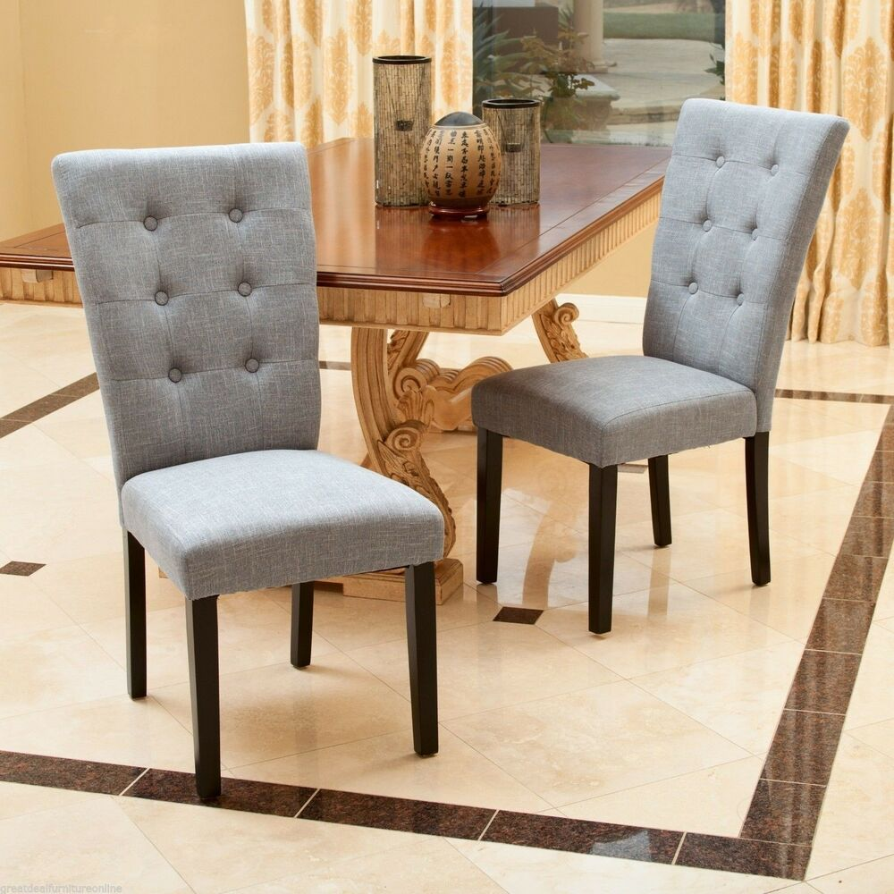 Set of 2 contemporary grey button tufted fabric dining for Modern low back dining chairs