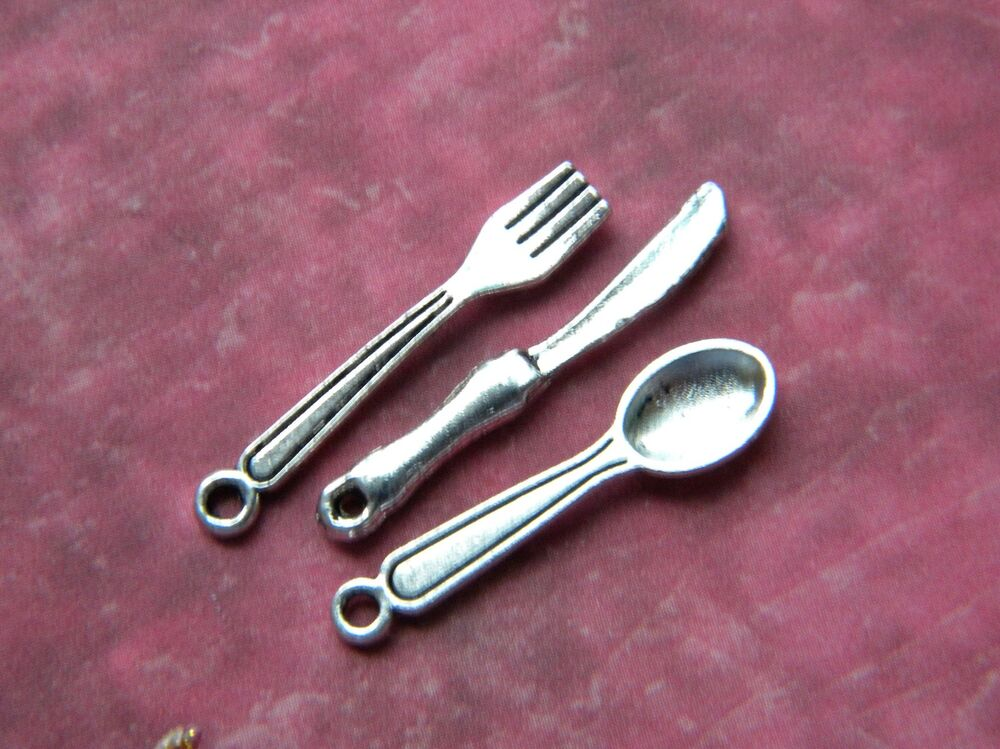 4 sets mini cutlery knives forks spoons 12 mixed charms silver finish dollhouse ebay - Knives and forks sets ...