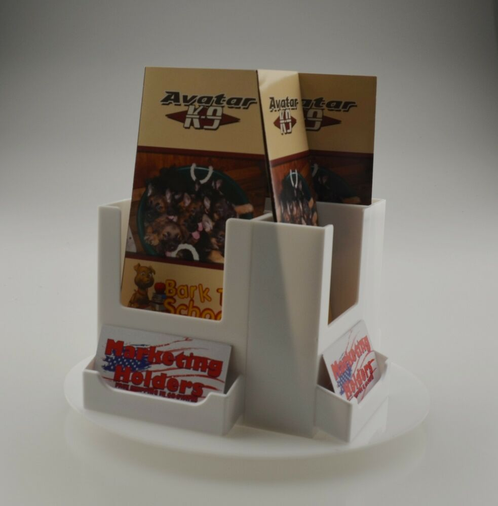 Rotating white 4 pocket tri fold brochure holder with for Flyer holder with business card