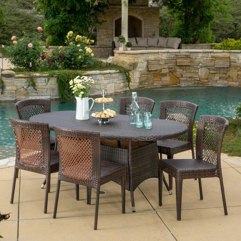 Outdoor patio furniture 7pc multibrown all weather wicker for Garden patio sets