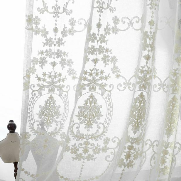 Good Quality Cotton Linen Country Floral Embroidered Window Curtains Panel Ebay