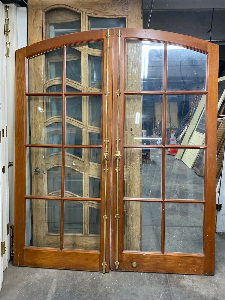 Arched French Entry Doors With Cremone Bolt Hardware 85x72 Ebay