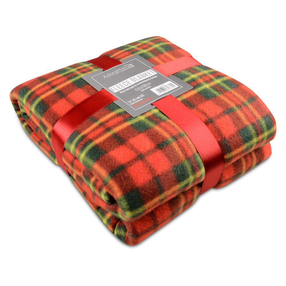 Soft Warm 150x200cm Double Red Tartan Check Sofa Throw Bed  : s l1000 from www.ebay.co.uk size 1000 x 1000 jpeg 89kB
