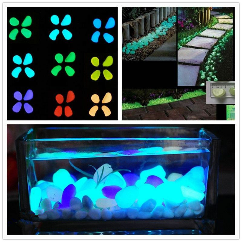 100 pcs glow in the dark stones pebbles rock for fish tank for Garden with fish tank