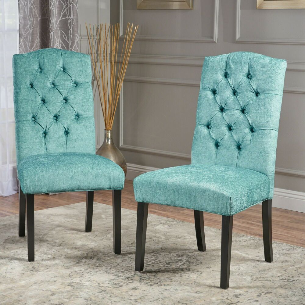 Set Of 2 Elegant Design Teal Green Upholstered Dining Chairs W Tufted Back Ebay