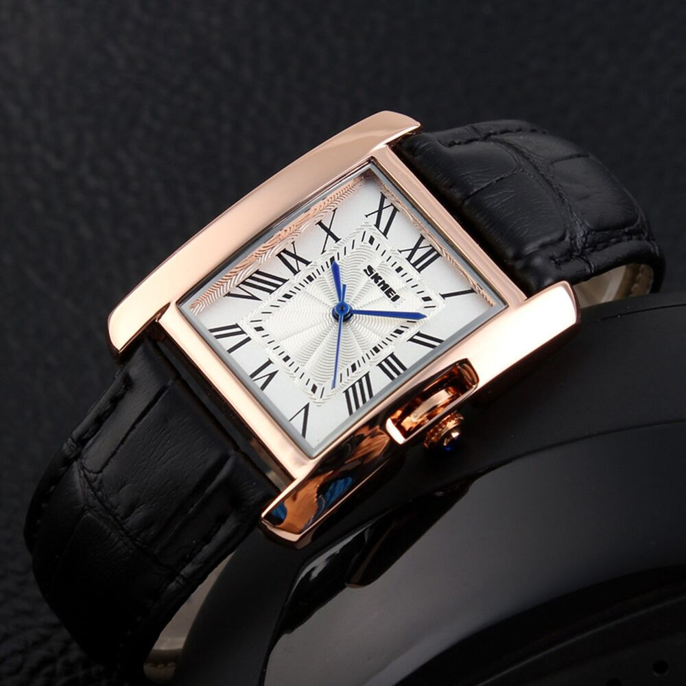 45a786102c7 Details about Fashion Womens Golden Crystal Square Dial Leather Strap Band  Quartz Wrist Watch