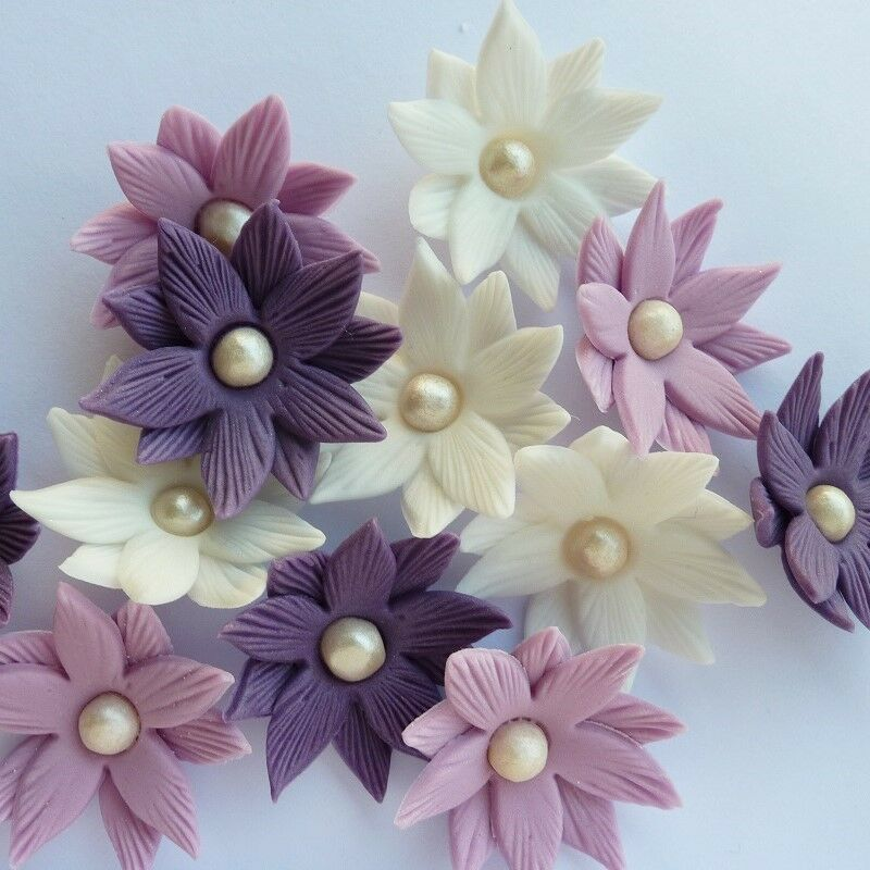 Cake Decorating Flowers Uk : 12 EDIBLE SUGAR FANTASY FLOWER PURPLE CUPCAKE TOPPER ...