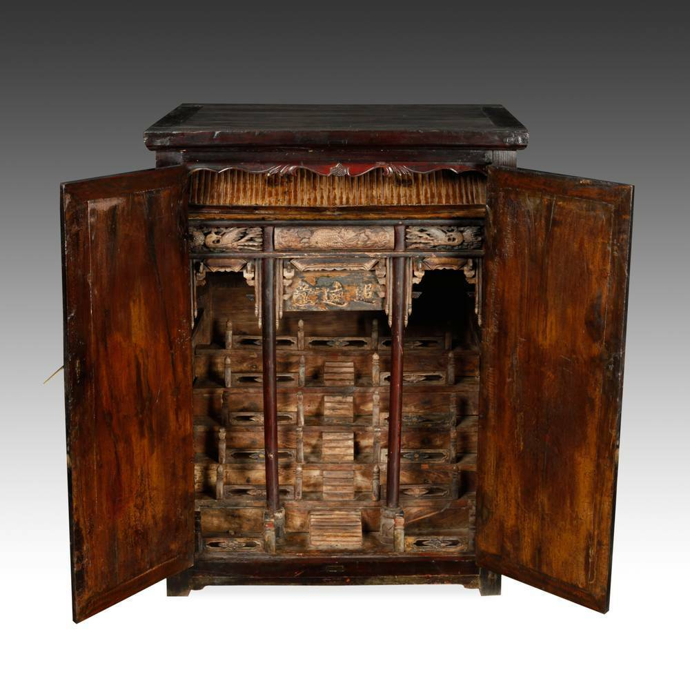 Rare Antique Chinese Qing Lacquered Elm Wood Altar Cabinet