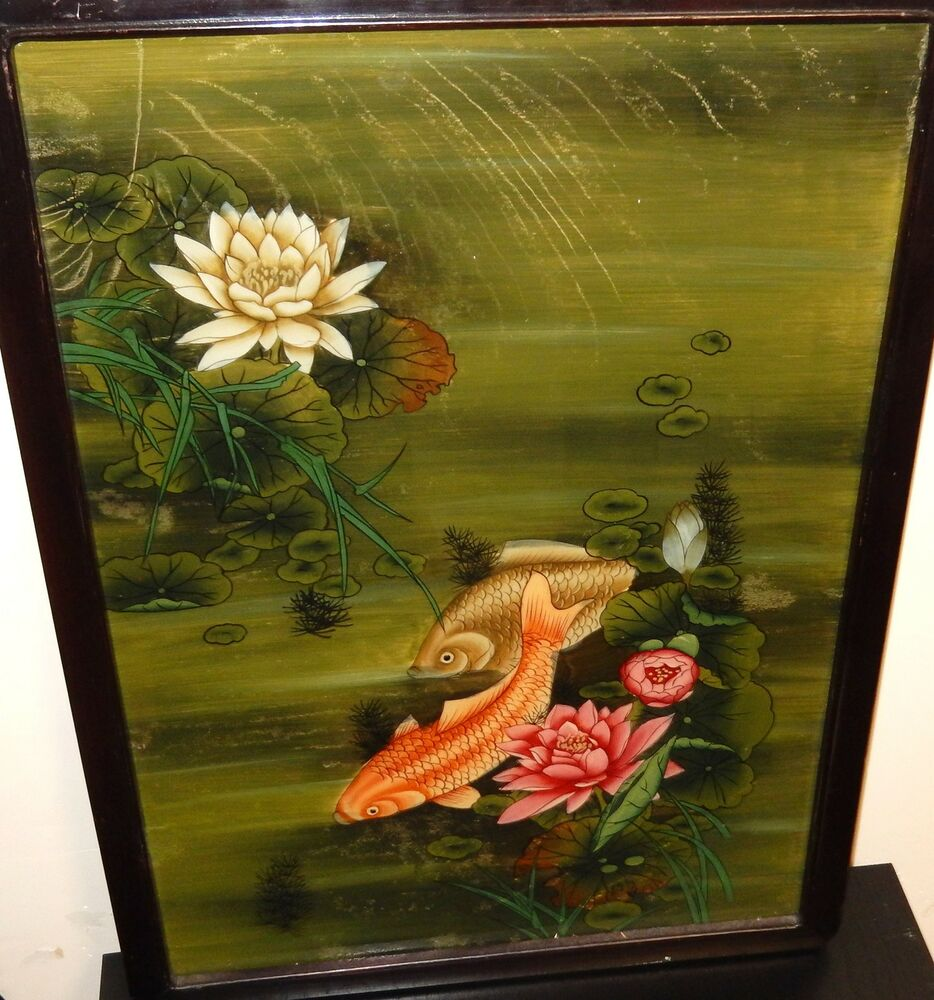 Chinese koi fish pond reverse glass painting unsigned ebay for Chinese koi pond
