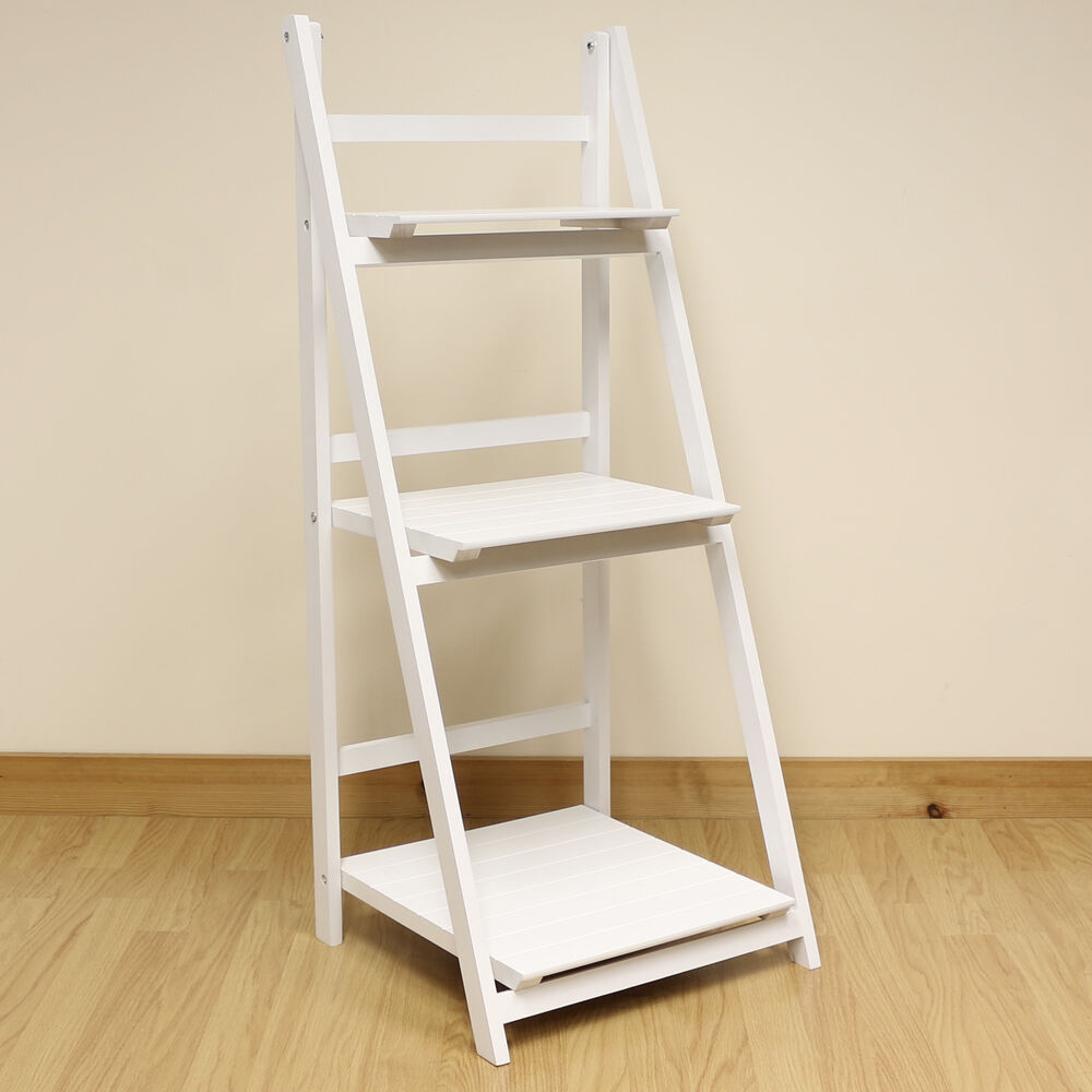 Exhibition Stand Shelves : Tier white ladder shelf display unit free standing