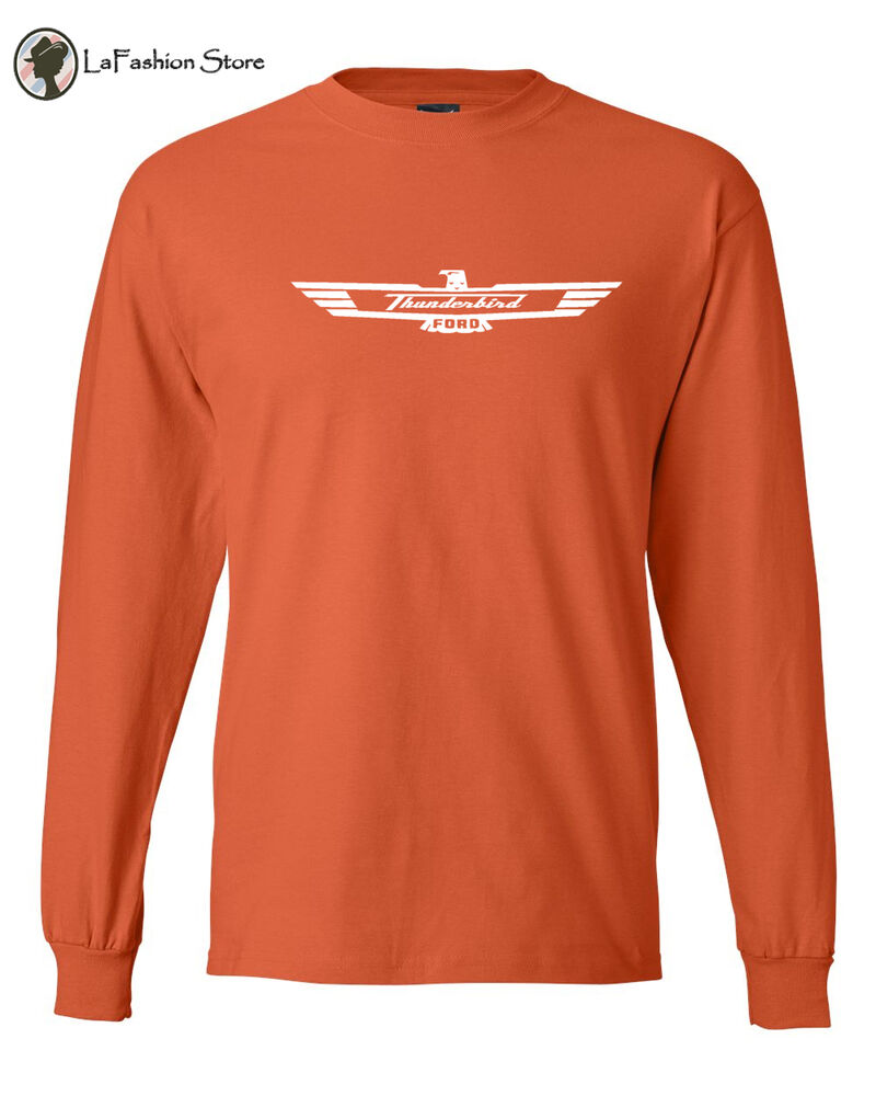The ford thunderbird classic car logo tee vintage long for Retro long sleeve t shirts