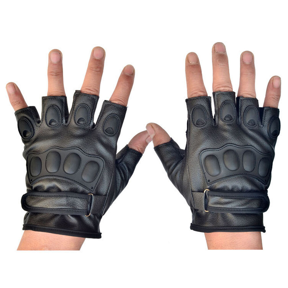 Motorcycle gloves half finger - Tactical Fingerless Pu Gloves For Armed Combat Airsoft Climbing