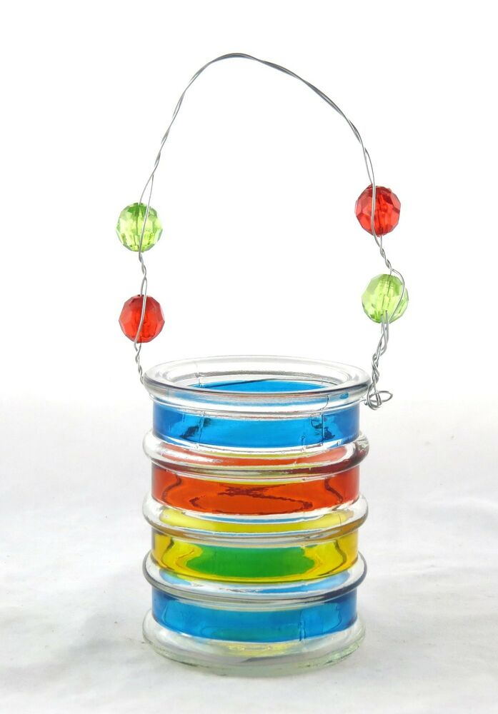Small striped glass bucket hanging tea light holder yankee for Diy hanging tea light candle holders