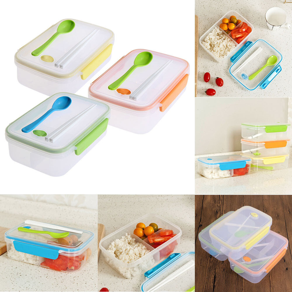 three compartments lunch bento box food snack container transparent storage box ebay. Black Bedroom Furniture Sets. Home Design Ideas