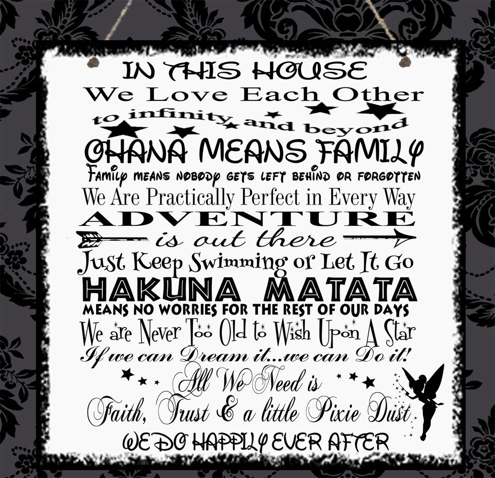 Quote Plaques: Personalised Disney Quotes Family Plaque Mum Sister