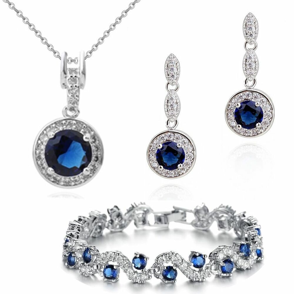 sapphire necklace and earrings set 18k gold gp blue sapphire swarovski crystals set necklace 342