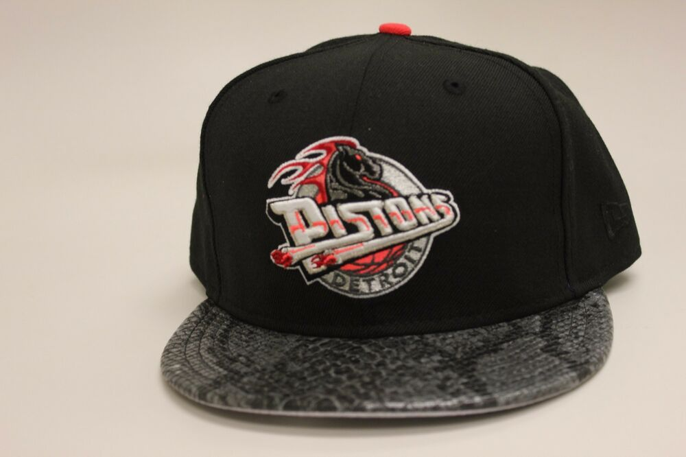 9e2ac4c8c4a Details about Detroit Pistons Black Faux Snakeskin Brim Infrared New Era  59Fifty Fitted Hat