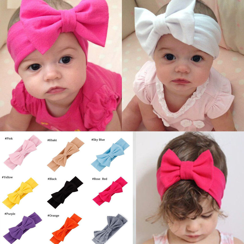 Toddler Girls Kids Baby Big Bow Headband Stretch Turban