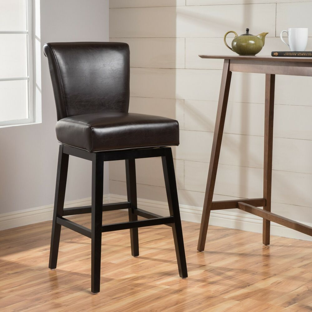 Contemporary Dark Brown Leather Swivel Counter Stool Ebay