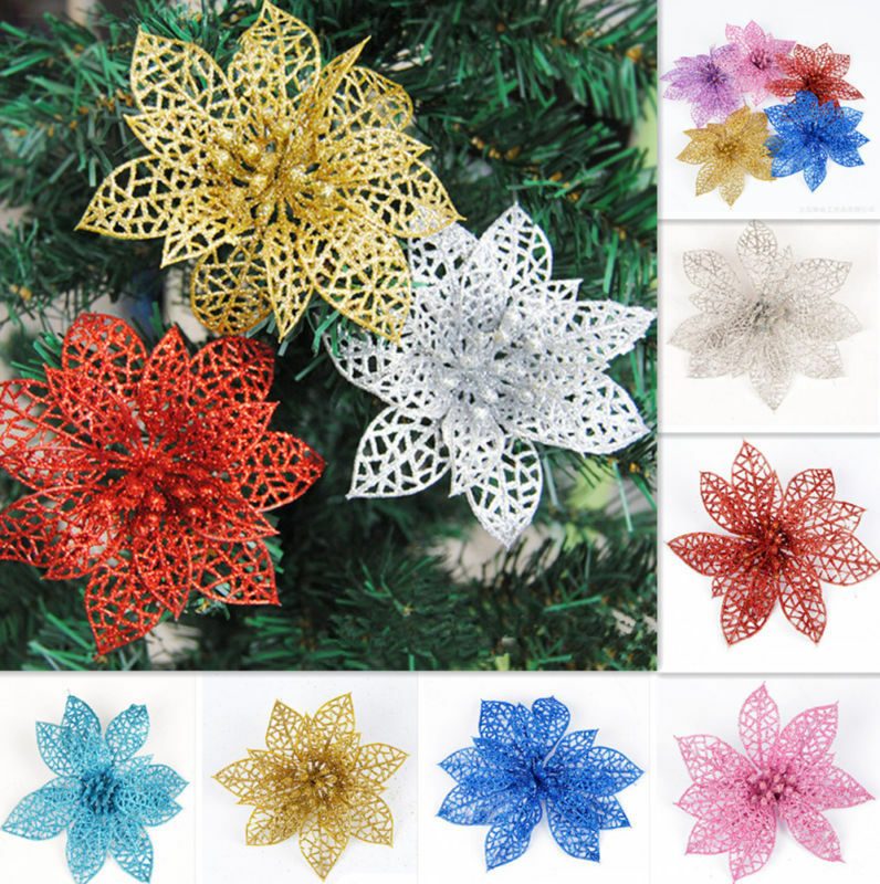 6color glitter hollow party decor christmas flowers xmas for California floral and home christmas decorations
