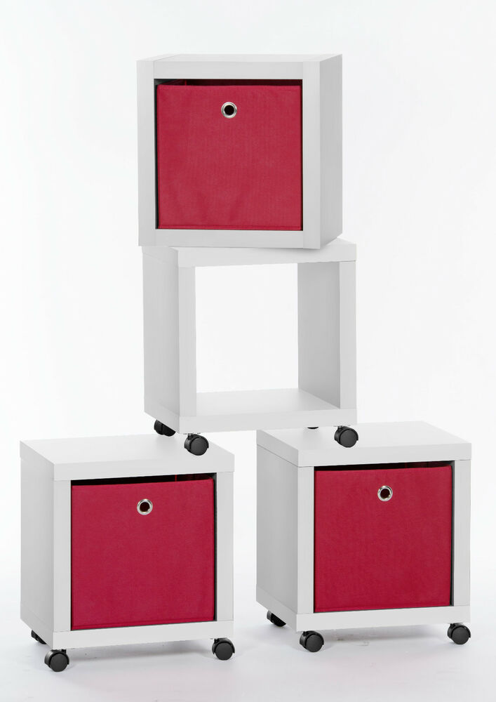 regalw rfel flip 1 standregal rollregal beistelltisch box auf rollen wei ebay. Black Bedroom Furniture Sets. Home Design Ideas