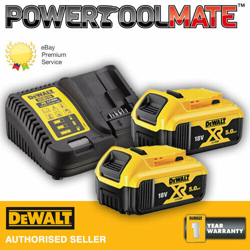 dewalt dcb184 18v li ion 5 0ah battery twin pack dcb105 charger kit ebay. Black Bedroom Furniture Sets. Home Design Ideas