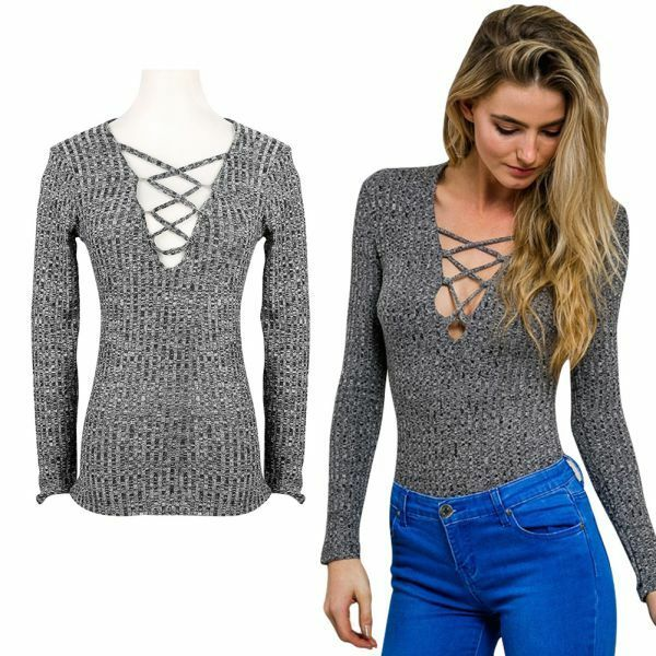 Charcoal lace up fall spring knitted tops sexy v neck ...