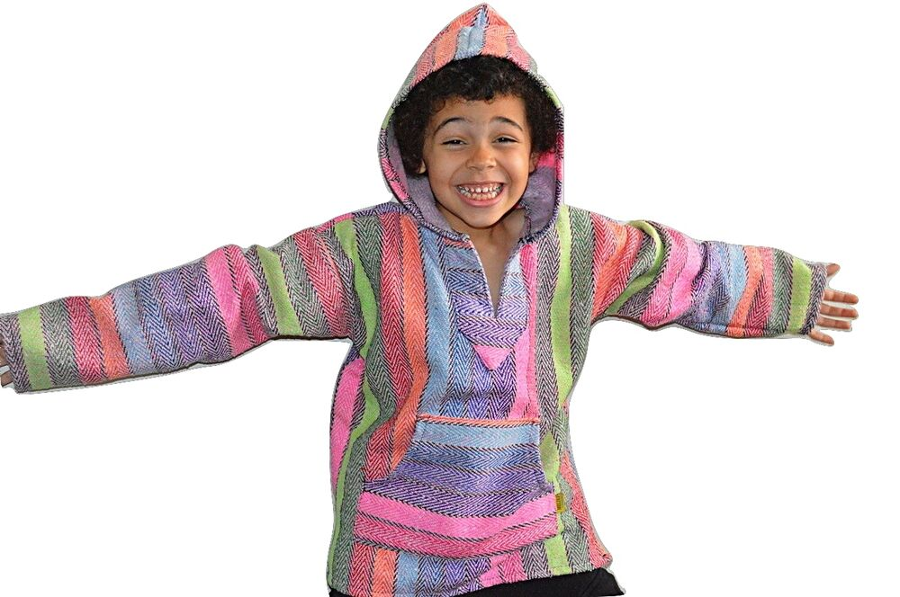 Children's Deluxe Baja - Original Mexican Baja Hoodies For Kids. Our best selling original Baja Sweatshirts are now for kids too! These Mexican poncho style hooded sweatshirts are available in youth sizes and are perfect for kids of all ages.