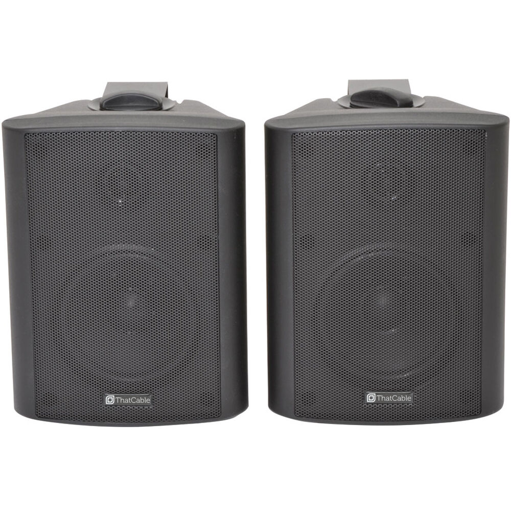 Pair 8 2 Way Stereo Speakers 180w 8ohm Black Wall