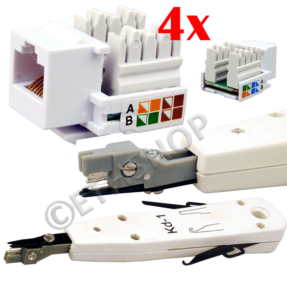 ethernet rj45 rj11 rj12 phone cable punch down tool with 4x keystone jack new ebay. Black Bedroom Furniture Sets. Home Design Ideas