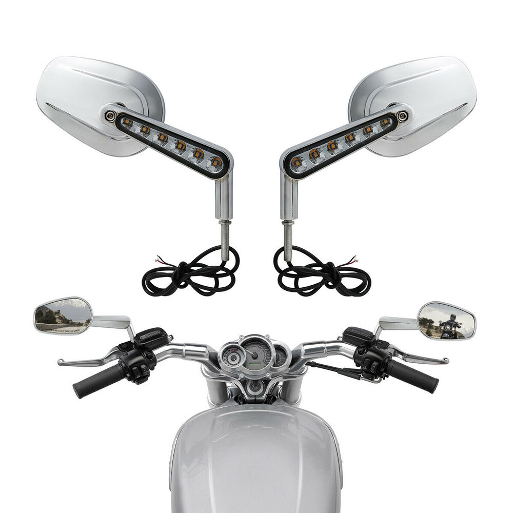 Pair Muscle Rear View Mirrors Led Turn Signals For Harley