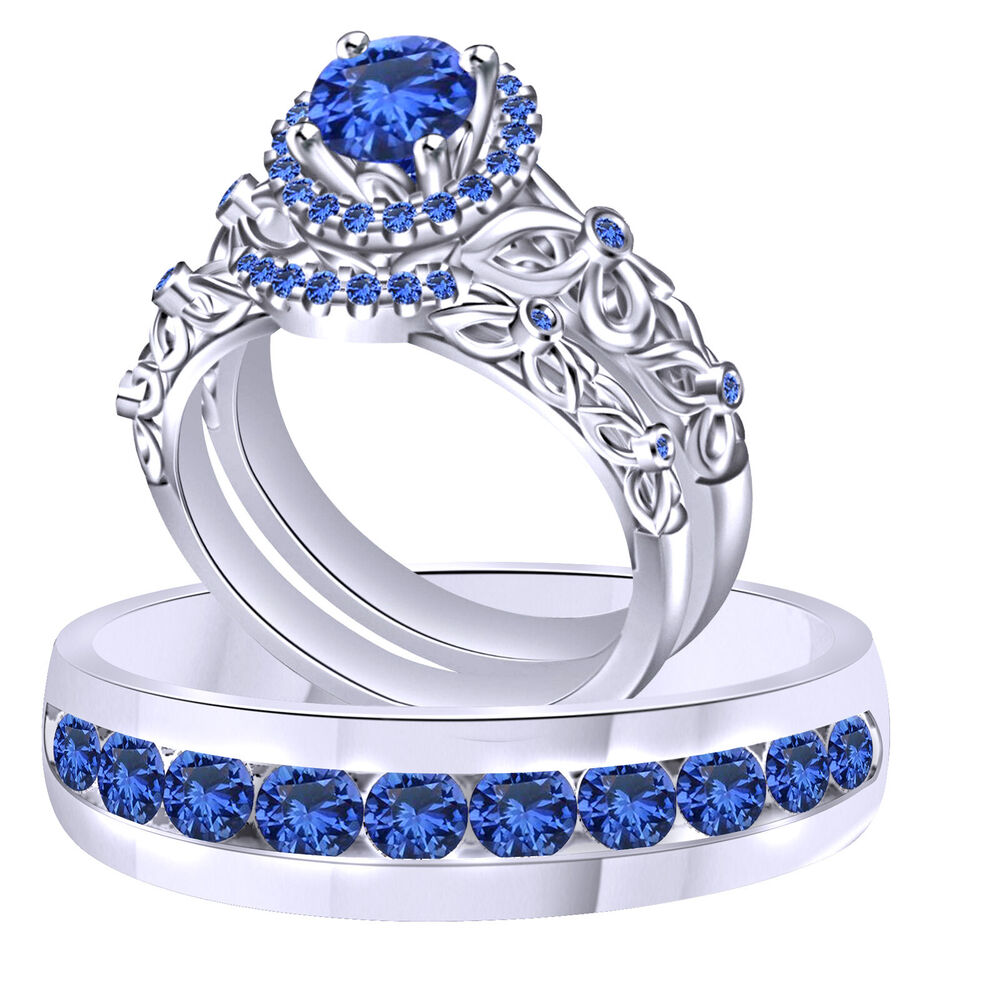 Blue Sapphire Trio Wedding Ring Band Set Solid 18K White