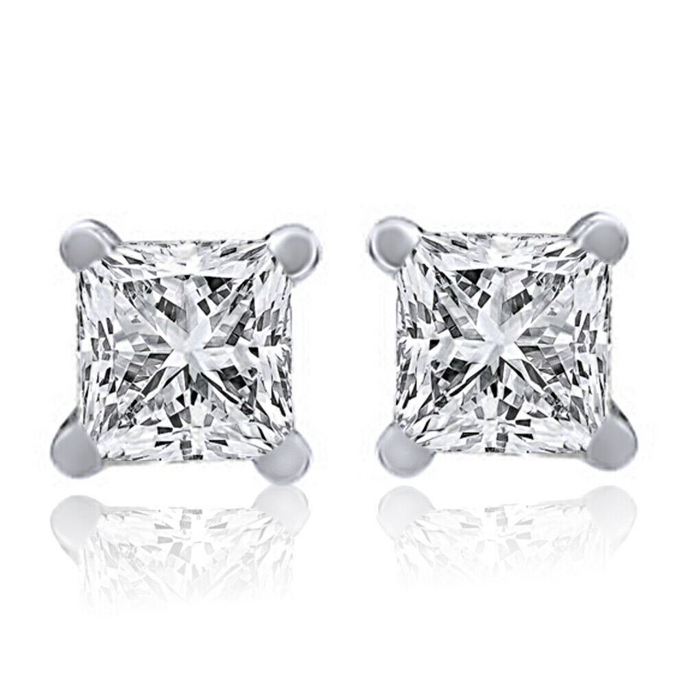 1 ct princess cut earrings 1 00 ct square princess cut 14k white gold stud 9433