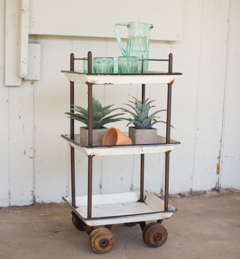 Rustic Recycled Vintage Enamel Metal Antique Tray Bar Cart