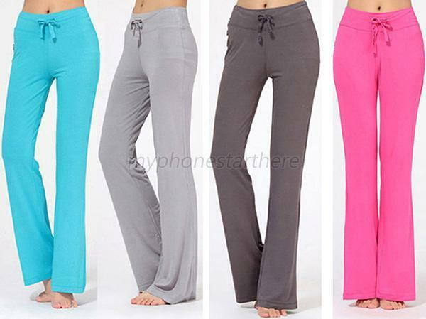 Women Soft Cotton Elastic YOGA PANTS Comfy Casual Long ...