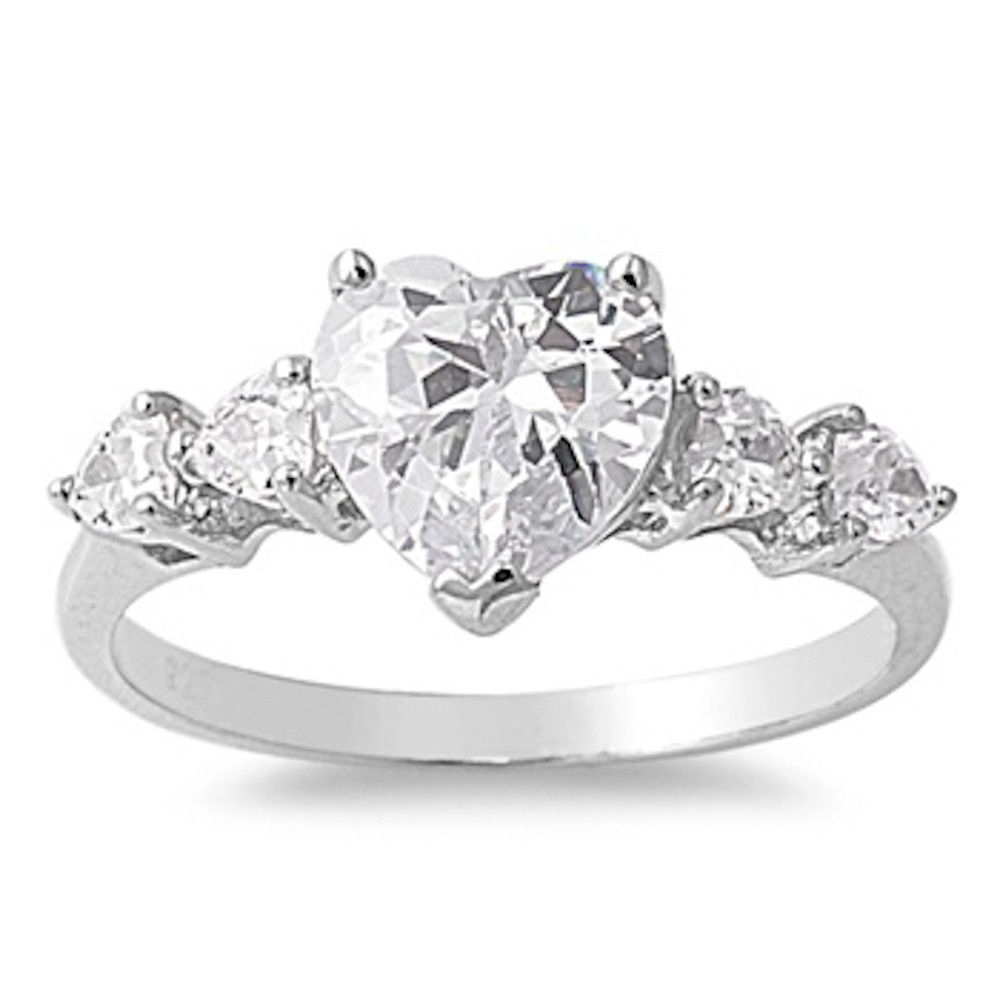 sterling silver 925 clear cz promise engagement