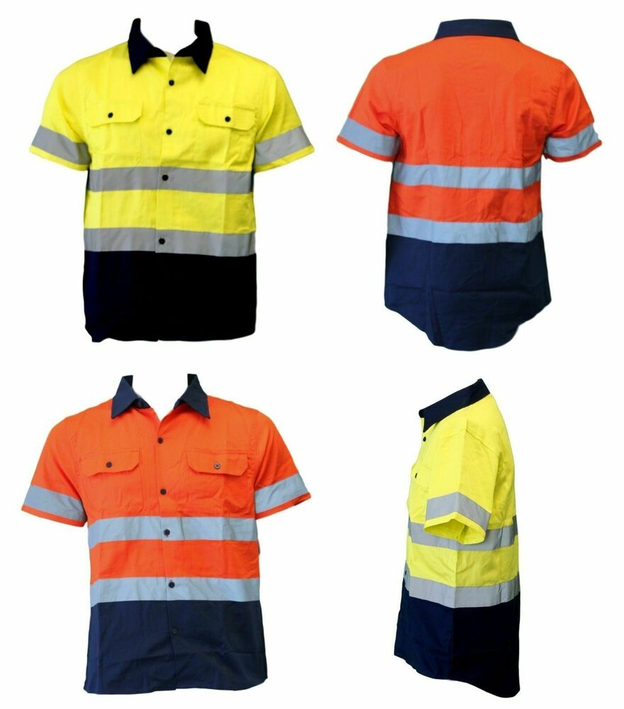 Hi vis safety workwear 100 cotton shirt vented short for Hi vis shirts with reflective tape