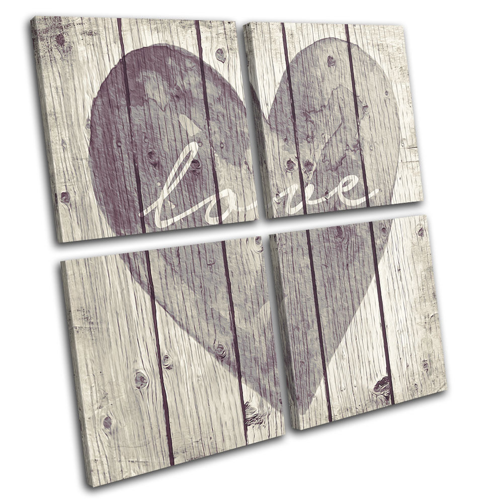 shabby chic love heart vintage multi canvas wall art picture print ebay. Black Bedroom Furniture Sets. Home Design Ideas