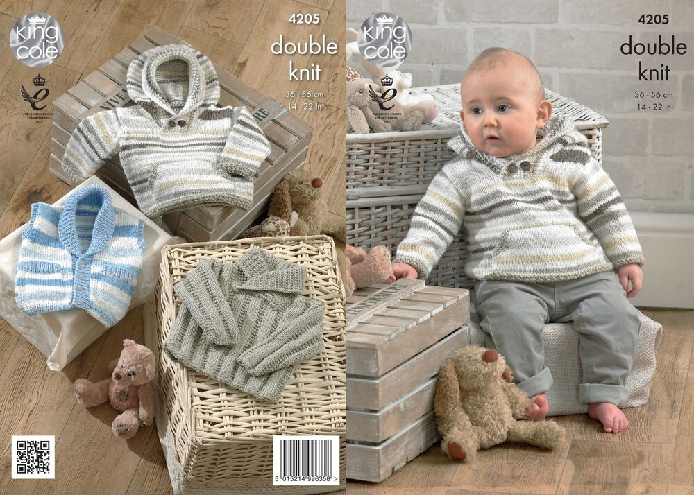 King Cole 4205 Knitting Pattern Baby Hoodie, Waistcoat and ...