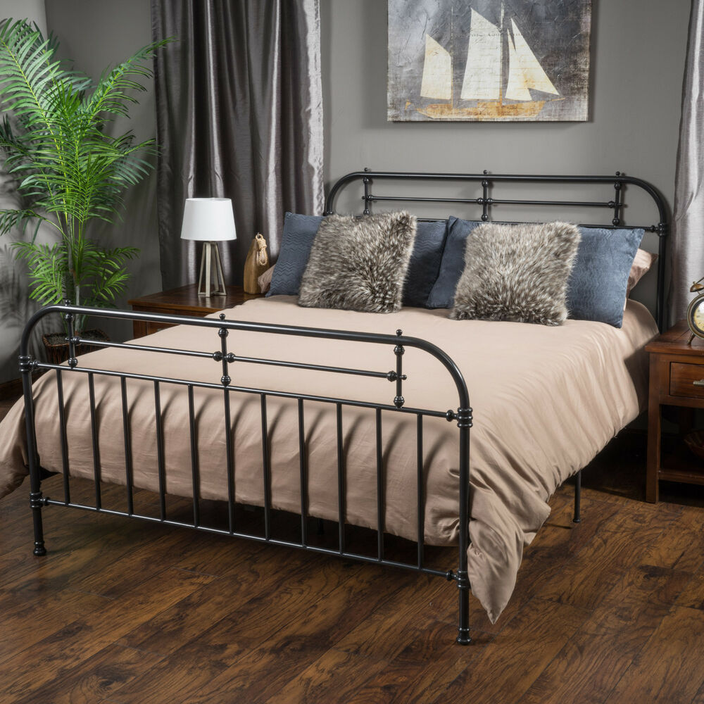 Bedroom furniture iron metal king size bed in charcoal ebay for Metal bedroom furniture