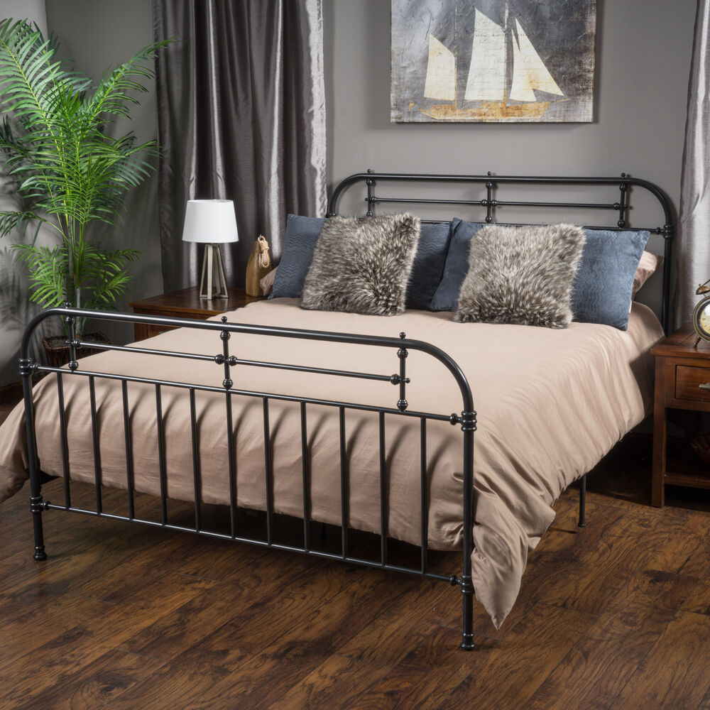 Bedroom furniture iron metal king size bed in charcoal ebay for King size bunk bed